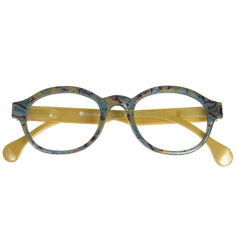 +2.00 Reading Glasses - Unisex - Green&Gold - Francesca - Eyecare-Shop - 1