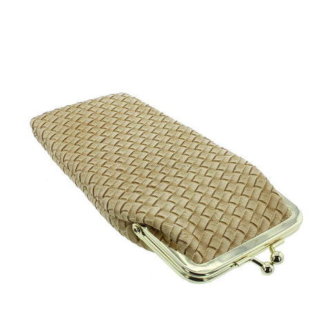 Vintage Style Woven Leather Effect Gold Glasses Case - Spry
