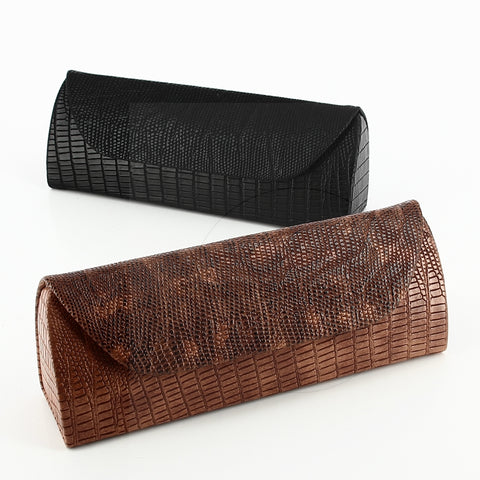 Black Imitation Snake Skin Womens Glasses Case