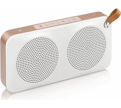 JVC Portable Bluetooth Wireless Water Resistant Speaker - White & Gold