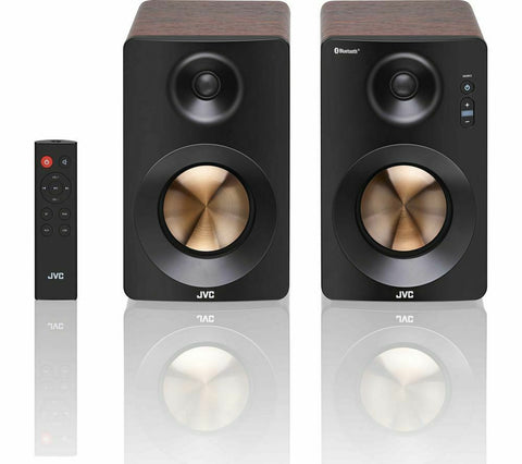 JVC XS-D629BM 2.0 Bluetooth Bookshelf Speakers - Walnut finish