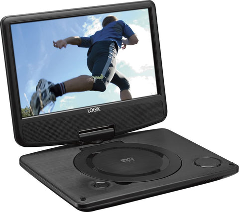 "Logik 9"" Inch Portable DVD Player Swivel Screen with 12v in-car Charger & USB"