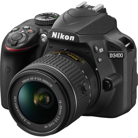 Nikon D3400 Digital SLR Camera with 18-55 f/3.5-5.6 AF-P DX Nikkor Lens