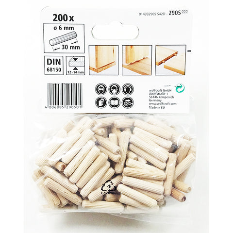 Wolfcraft 2905000 Dowel pins beech ø6x30mm ( Pack of 200 )