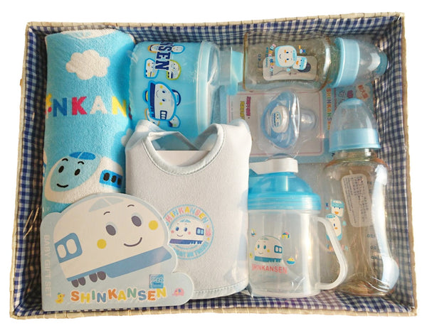 Sanrio Shinkansen Train Feeding and Bath Cloth Baby Gift Set for Boy