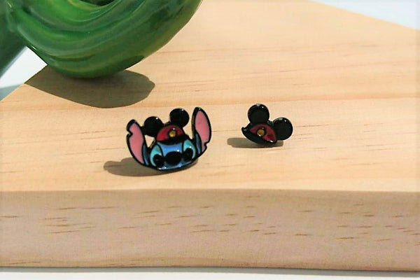 Disney Lilo & Stitch Funky Characters Stud Earrings Made in Korea 925 Silver