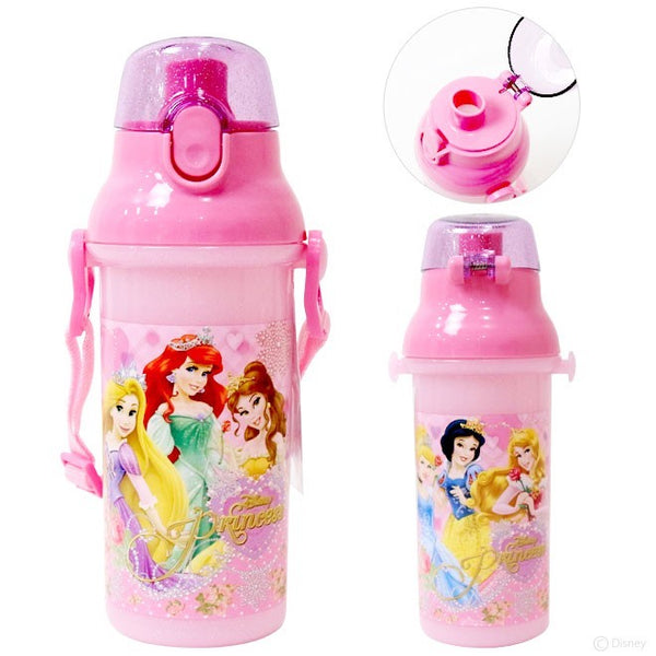 Japan Disney Princess Kids One Push Plastic Water Bottle w/ Adjustable Strap