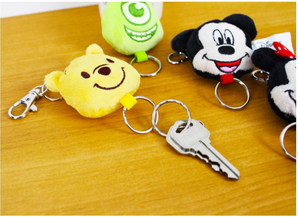 Cute Disney Characters Big Head Plush Flexible Wire Keyring Keychain w/ Snap Hook
