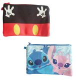 Disney Mickey Mouse Stitch 2 Pocket Pouch Zip Small Bags