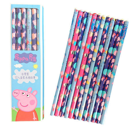 Peppa Pig Kids Wood Pencils 12 pcs Stationery Gift Set