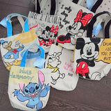 Disney Mickey Minnie Donald Winnie Stitch Small Canvas Tote Bags Lunch Bags
