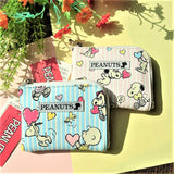 Peanuts Snoopy Heart Shape Leather Wallet Coin Pouch with Card Holder