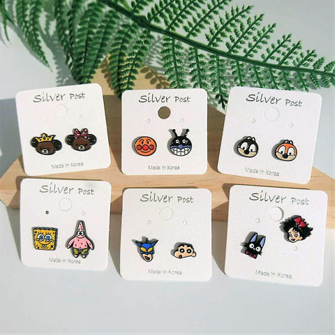Korean Funky Cartoon Characters Stud Earrings Chip Spongebob Shinchan Anpanman