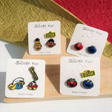 Korean Sesame Street Elmo Smurfs Cute Funky Fashion Stud Earrings 925 Silver