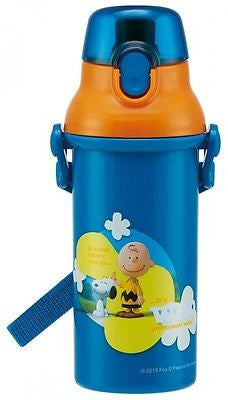 Japan Peanuts Snoopy Kids One Push Plastic Water Bottle w/ Adjustable Strap