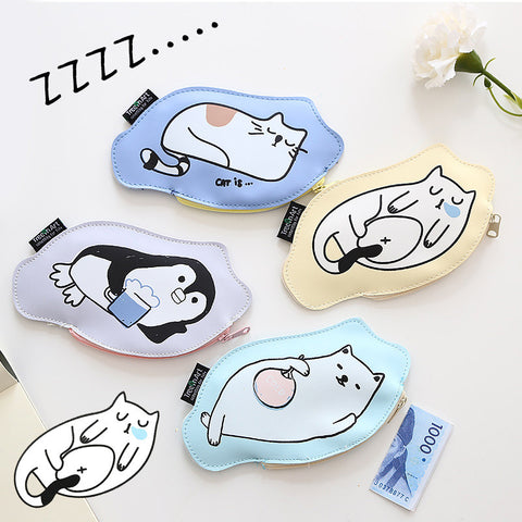 Cute Lazy Sleeping Cat Art Design Leather Coin Purse Pouch