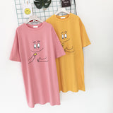 Cute Fashion Barbapapa Long T-shirt Dress (Pink/Yellow)