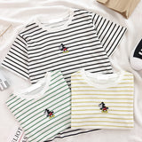 New Summer Korea Student Style Embroidery Kuso Mickey Mouse Striped T-shirt