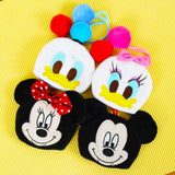 DISNEY MICKEY MINNIE DONALD DAISY CHIP'N'DALE CUTE PLUSH KEYRING ADJUSTABLE KEY POUCH