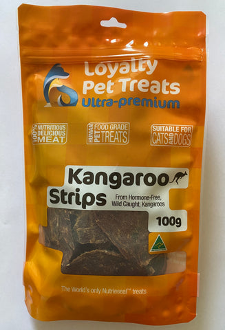 Loyalty Pet Treats 100g Kangaroo Strips 100%  Australian Kangaroo