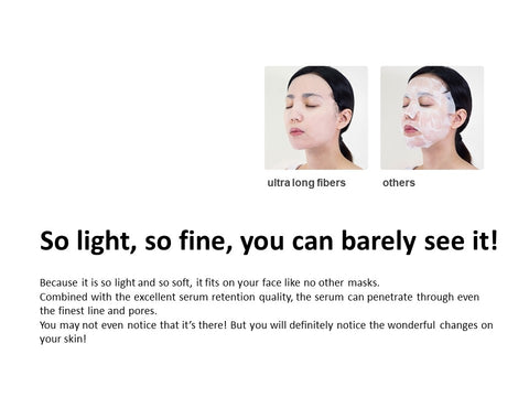 Light,fine and soft,it fits well on your face like no other masks. Even barely see it!