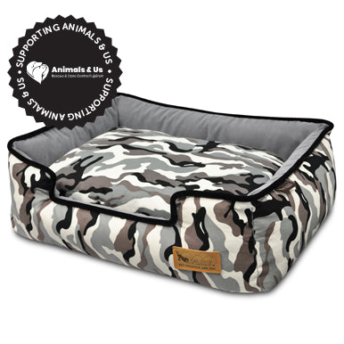 Camouflage Lounge Bed White - My Pooch and Co.