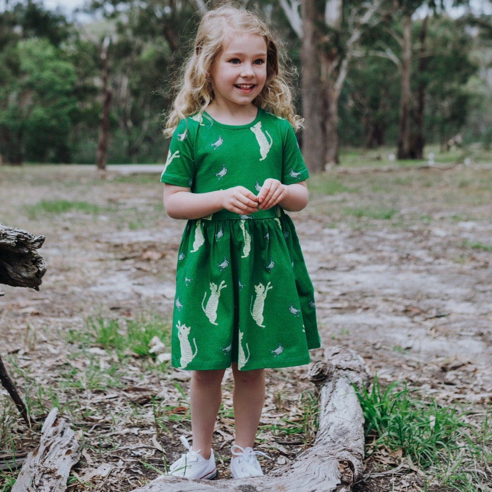 Dress - Ezra the Tabbycat on bottle green