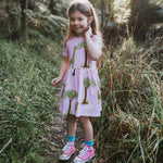 Pink-toddler-girls-dress-short-sleeves-pockets-cotton-Atlas-giraffe-print