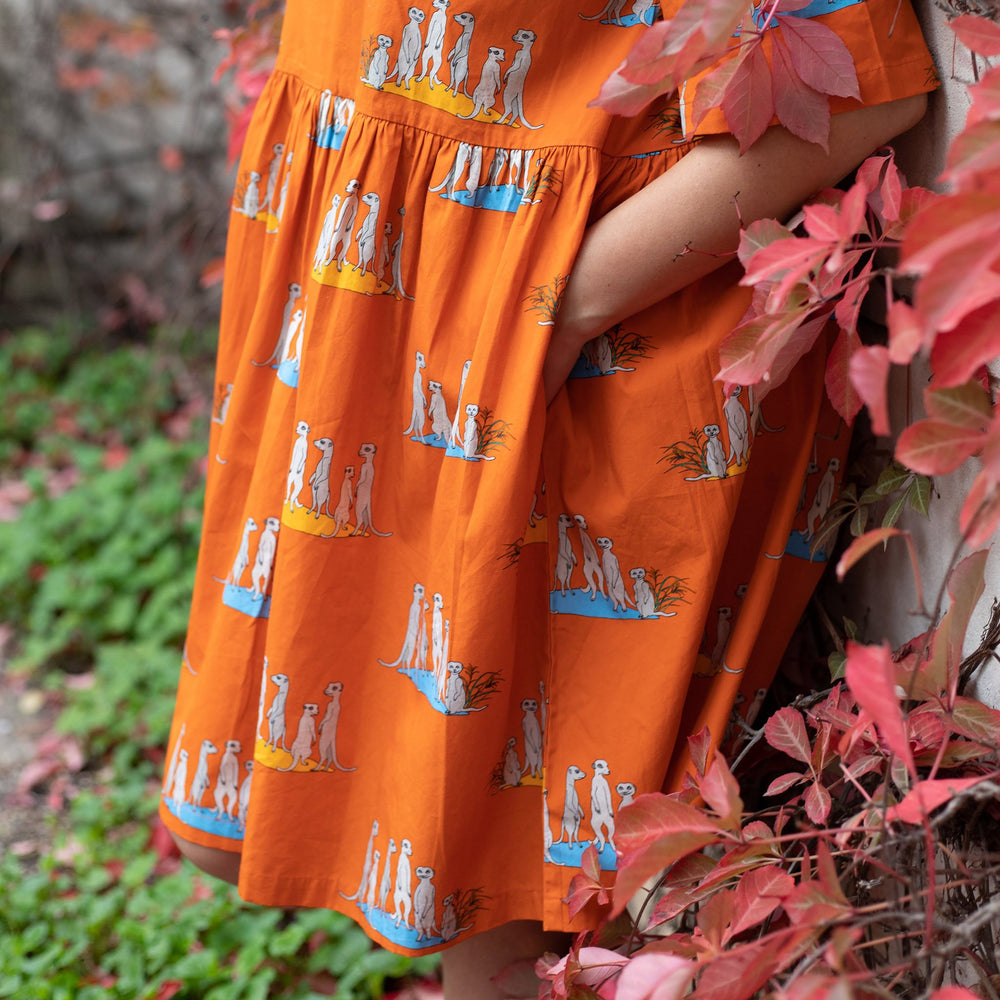 "Close up photo showing deep pockets of orange flame coloured knee length women's dress with gathered drop waist.  Dress features hand drawn illustrations of ""the bizzybuddies"" meerkat families in groups.  Women's hands are in her pockets and red autumn leaves in foreground."