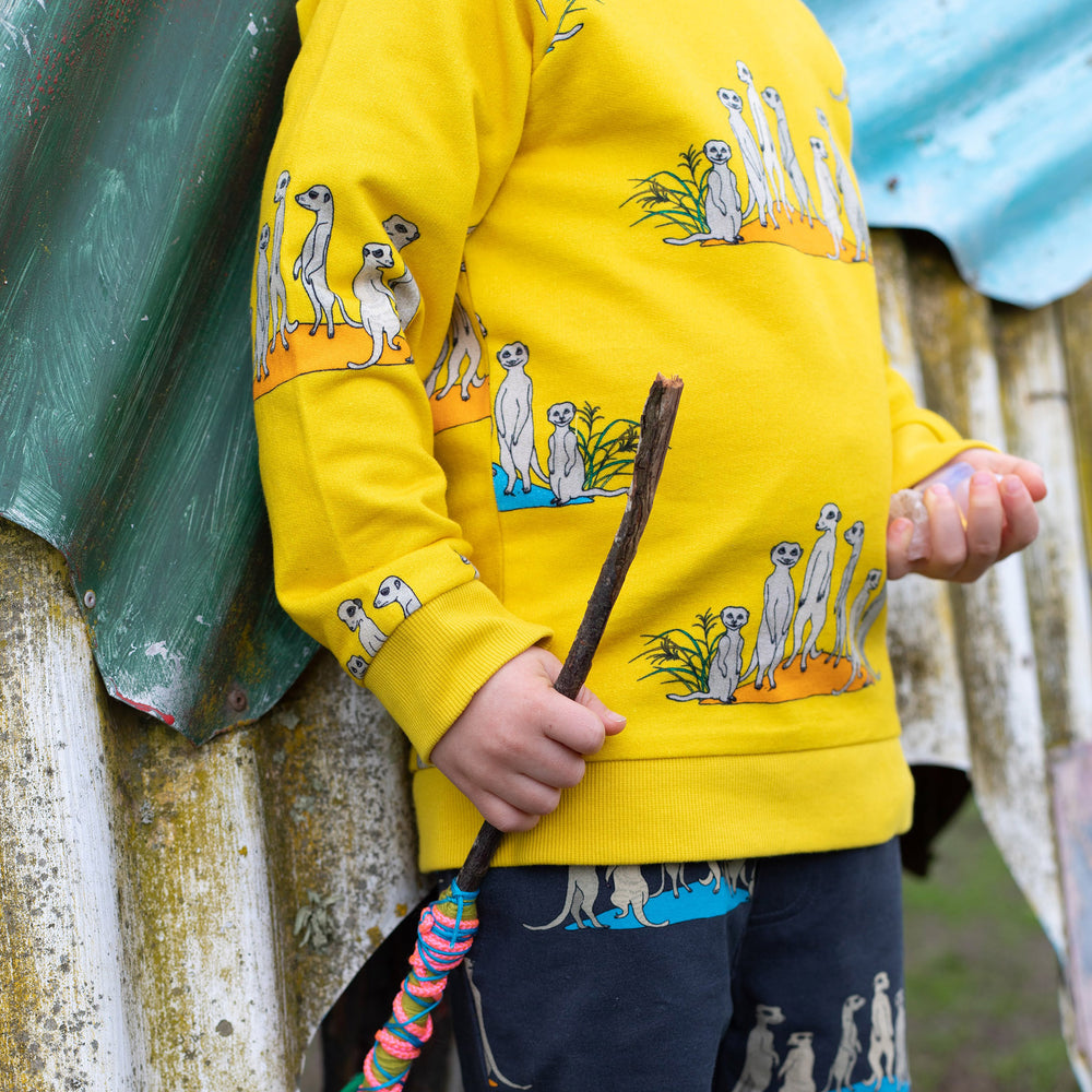 Close up of hand drawn meerkat illustration on Oomph and Floss Meerkat jumper.  He is wearing matching meerkat print shorts in a dark grey