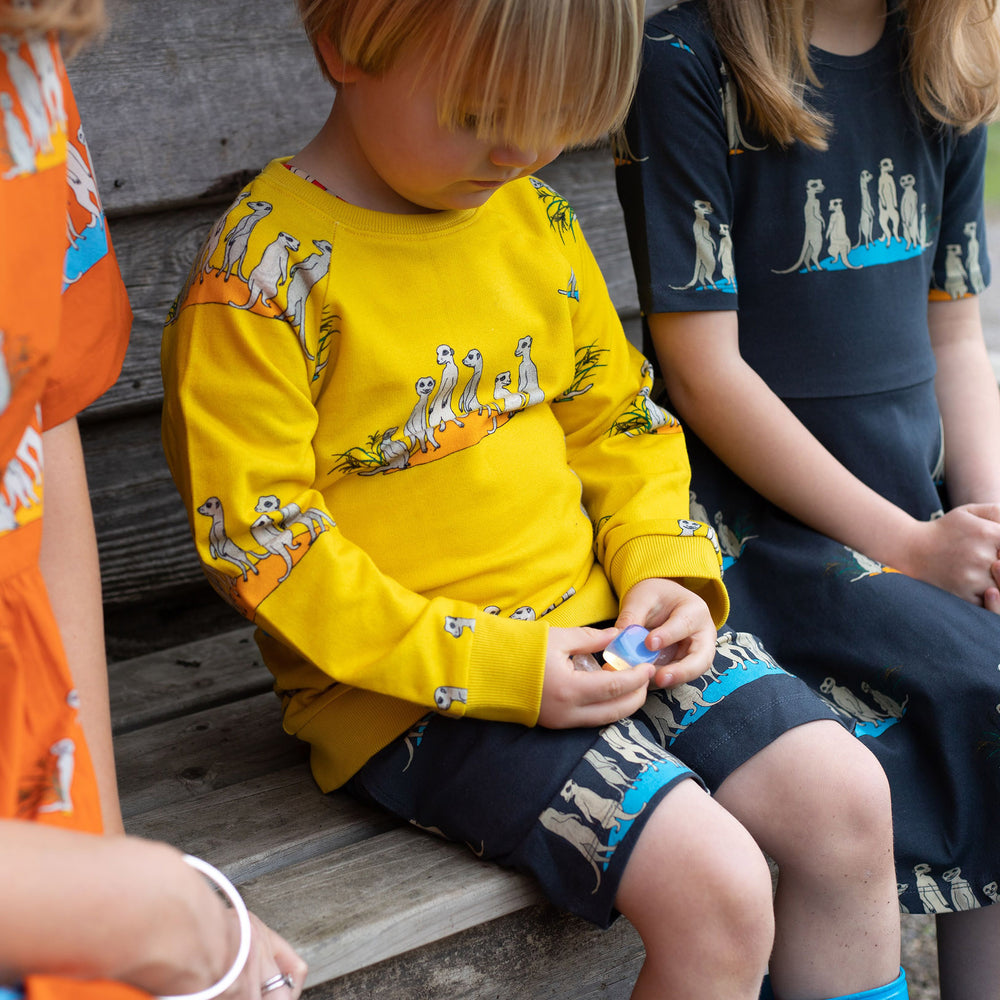 Boy wearing unisex yellow meerkat jumper and matching unisex meerkat grey shorts.  Girl in background wears matching dress in same meerkat print