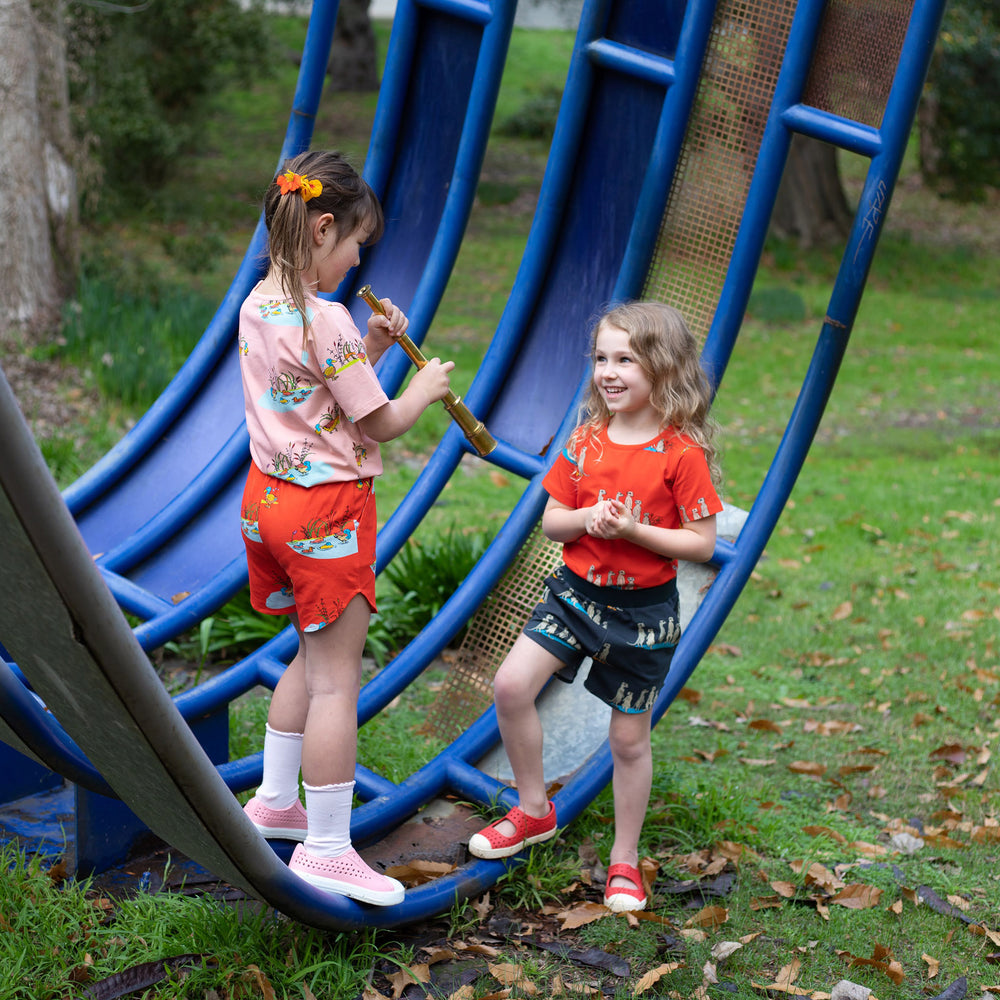 Two girls in a playground wearing scandi-like clothes.  Girl on left wears duck print shirt in peach with matching duck print shorts in red.  Girl on right wears red meerkat print shirt and matching grey meerkat shorts.