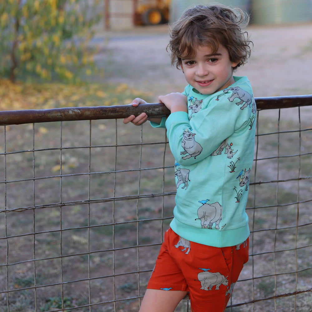 Boy playing on metal farm gate wearing biscay bay blue coloured rhino print jumper and matching tigerlily red shorts in the same rhino print but a different coloured material base.