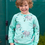 Happy boy wearing a scandi-style jumper with rhino print.  The material is a bright and happy biscay bay blue.