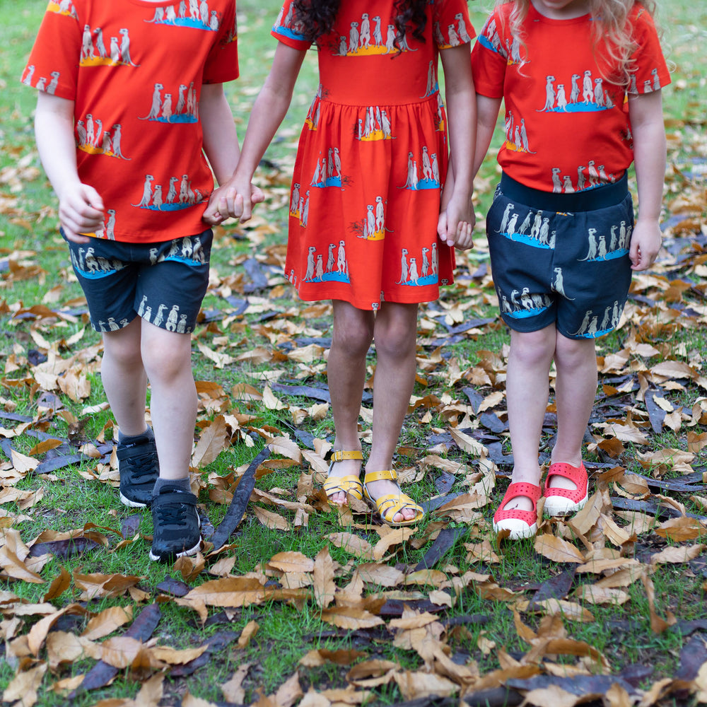 Kids wearing matching meerkat print outfits. Scandi style unisex outfits. red short sleeved tee with meerkats girls red meerkat dress carbon grey meerkat shorts with pockets