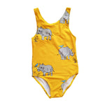 Girls one piece swimsuit bathers in bright yellow with rhinos and tick birds in a repeat pattern