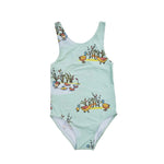 Swimsuit - The Puckle Ducks on cool mint blue