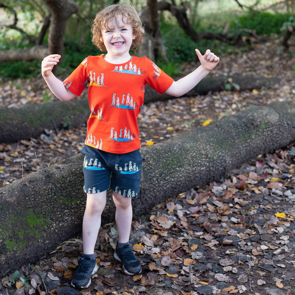 Boy wearing scandi-style matching tee and shorts in same meerkat print in contrasting colour. Red meerkat shirt and grey meerkat shorts by oomph and floss.