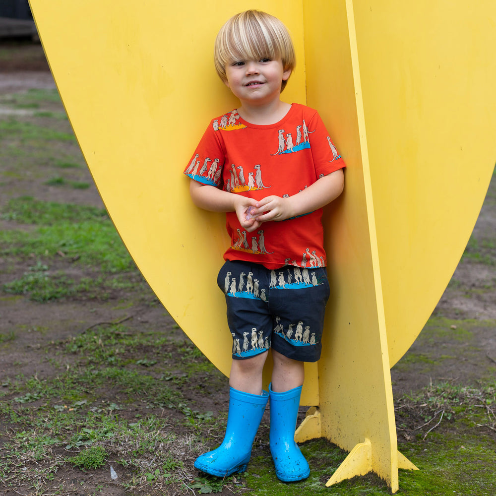toddler wearing straight-cut shorts with meerkat print on a carbon coloured base fabric.  He is wearing a red tee in a matching meerkat print.  He has bright blue gumboots on and is standing in front of a yellow sculpture.
