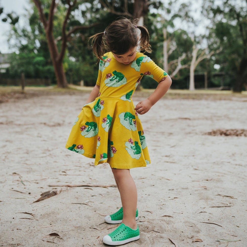 Girls-mustard-twirling-cotton-summer-dress-frog-print-with-pockets
