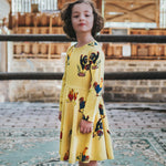 Girls-yellow-twirling-cotton-winter-dress-rooster-chicken-print-with-pockets