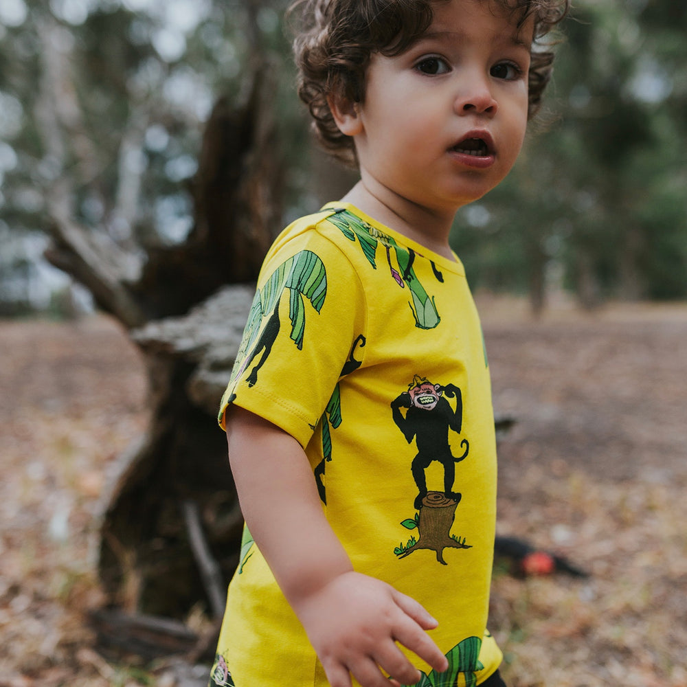 Kids-Boys-Girls-Summer-tshirt-tee-Monkey-print-bright-yellow