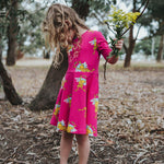 Bright-pink-summer-twirly-girls-frog-print-dress