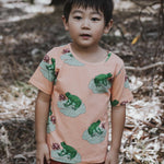 Kids-Boys-Girls-Summer-tshirt-tee-frog-print-peach