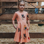 Dress - LAST Size 6 - Brock the rooster on sunset peach