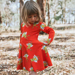 Girls-red-twirling-cotton-winter-dress-frog-print-with-pockets