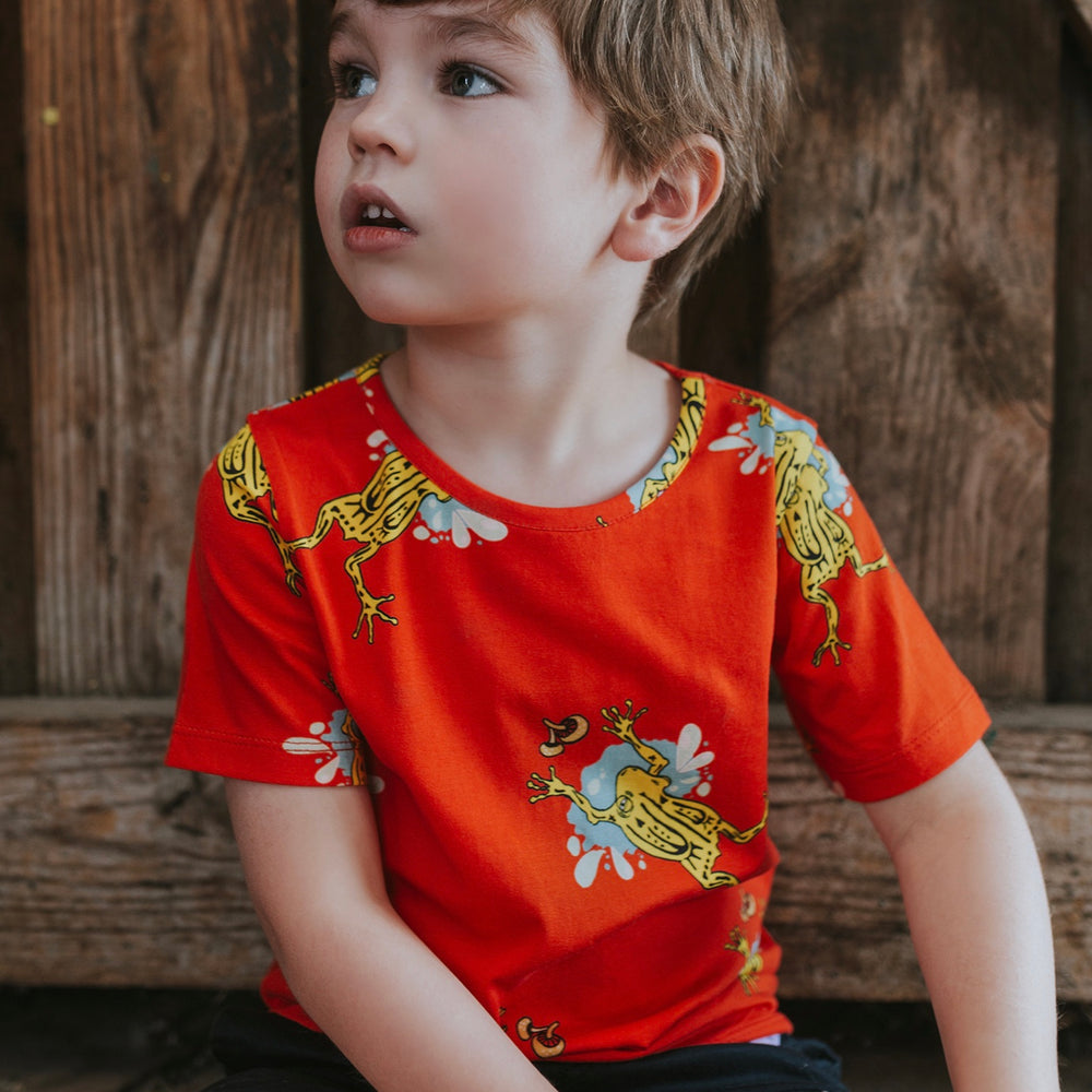 Tee - LAST Size 2 - Spike the corroboree frog on mandarin red