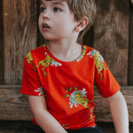 Kids-Boys-Girls-Summer-Organic-cotton-tshirt-tee-frog-print-red