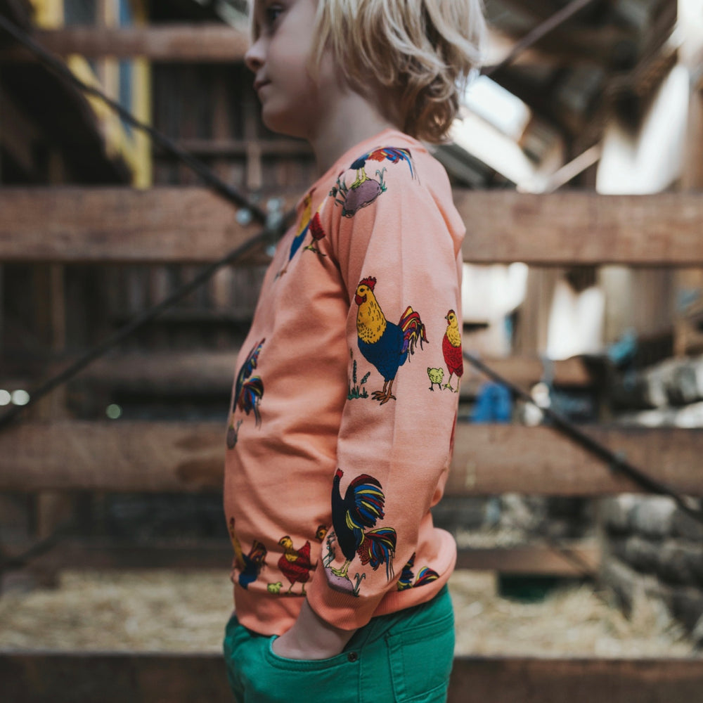 Boys-Girls-Winter-Organic-Cotton-jumper-top-rooster-chicken-print