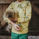 Boys-Girls-Winter-Organic-Cotton-jumper-top-Yellow-frog-print